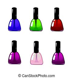 Nail polish in different colors. Illustration of realistic nail polish in glass bottles isolated on white background.