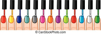 nail polish in different colors