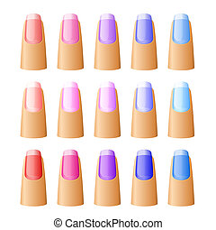 Nail polish in different hues. Vector illustration.