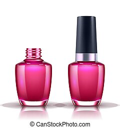 nail polish in glass bottle open and closed isolated on white background