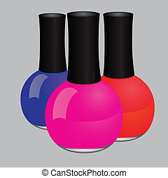Nail polish - Maroon nail polish in a glass bottle. Vector...