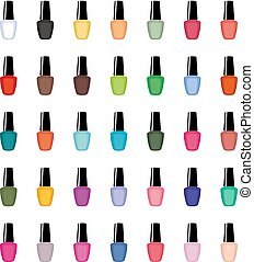 Nail polish on a white background isolated. Manicure. Vector