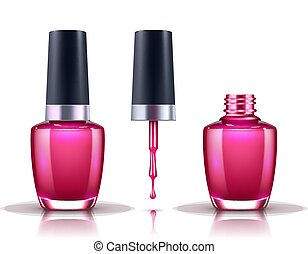 Nail Polish. Open, Closed Bottle and Drop with Brush