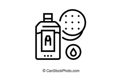 nail polish remover and cotton pad animated black icon. nail polish remover and cotton pad sign. isolated on white background