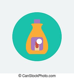 Nail polish remover. Bottle icon. Vector illustration