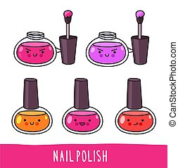 Nail polish. Set of cute cartoon doodle character with different facial expressions.