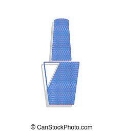 Nail polish sign. Vector. Neon blue icon with cyclamen polka dot