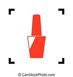 Nail polish sign. Vector. Red icon inside black focus corners on white background. Isolated.