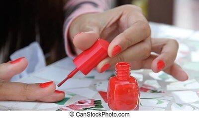 Nail polish - Stock Video. Nail polish that is red is...