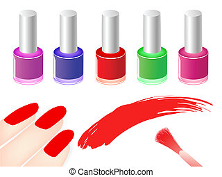 nail polish - multicolored nail polish bottles near red...