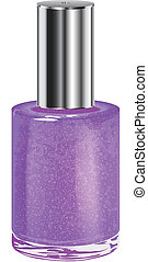 Nail polish with silver cap. Vector object. - Nail polish...