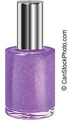 Nail polish with silver cap. Vector object. - Nail polish...