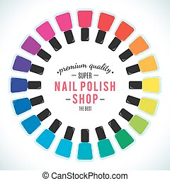 Nail polish women accessories set in a palette. Bright...
