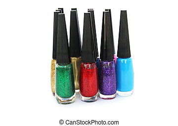 Nail polishes - Colorful nail polishes isolated on white...