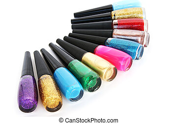 Nail polishes - Colorful nail polishes isolated on white ...