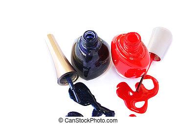 Nail polishes - Spilled nail polishes isolated on white ...