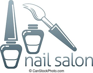 Nail salon concept - An illustration of bottles of nail...