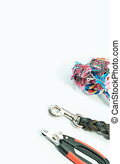 Nail scissors, Leash of leather and rope for pets isolated on white background.