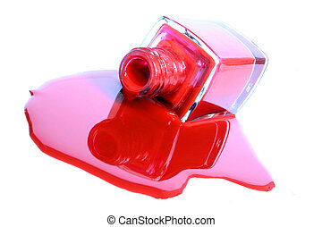 Pool of red nail varnish and bottle