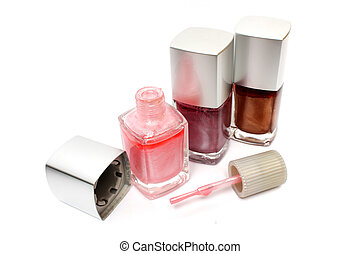 Three different color nail varnish on white background.