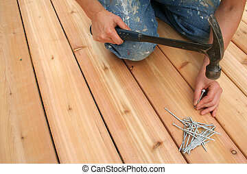 Nailing - Building a new deck.