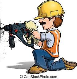 nailling, arbetare, konstruktion, -