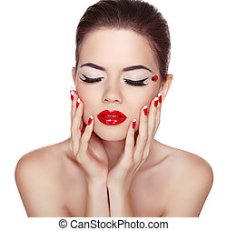 nails., aislado, makeup., labios, atractivo, manicured, niña, rojo