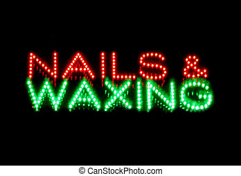 Nails and waxing beauty therapy sign