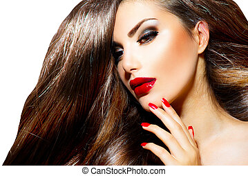 nails., beleza, maquilagem, lábios, excitado, menina, ...