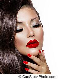 nails., bellezza, trucco, labbra, sexy, ragazza, rosso, provocatorio