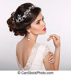 nails., casório, noiva, manicured, beleza, menina, moda, hairstyle., bonito, atraente, portrait., jewelry., mulher, luxo, cabelo, style., model., jovem