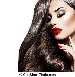 nails., kráska, makeup, omočit si rty, erotický, děvče, ...