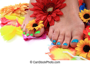 nails), mulher, colorido, -, (pedicure, pernas