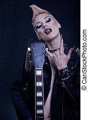 nails., noir, style, girl, maquillage, mode, hairstyle., yeux, modèle, portrait., culbuteur punk, femme, coiffure, enfumé