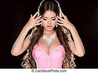 nails., robe, projection, manucuré, fille noire, brun, mode, rose, isolé, woman., modèle, long, beauté, cheveux, bijouterie, arrière-plan.
