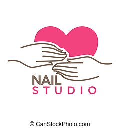 Nails studio or manicure salon vector flat icon template
