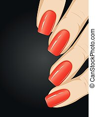 Nails with Fashion Manicure - Female fingers with long nails...