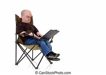 nain, peu, ordinateur portable, homme