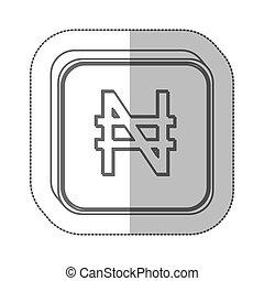 nairas, símbolo moneda, icono