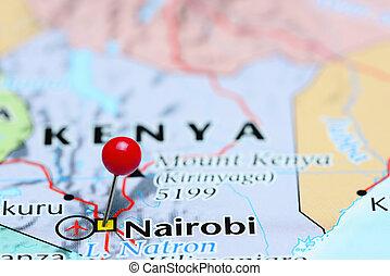nairobi, asia, festgesteckt, landkarte