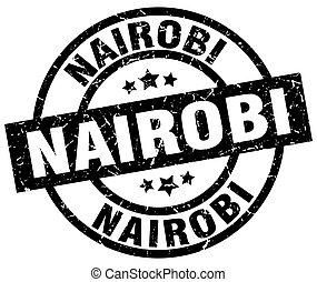 Nairobi black round grunge stamp