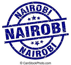 Nairobi blue round grunge stamp
