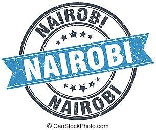 Nairobi blue round grunge vintage ribbon stamp