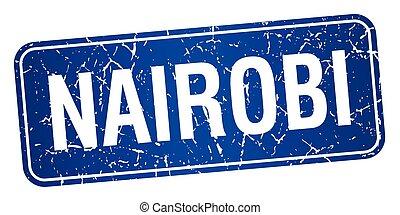 Nairobi blue stamp isolated on white background