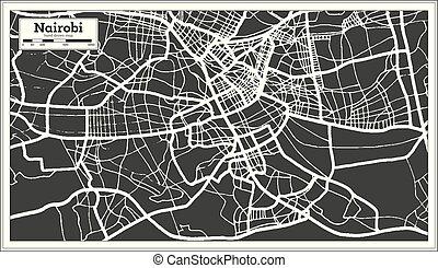 Nairobi Kenya City Map in Retro Style. Outline Map. Vector...