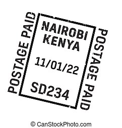 Nairobi postage stamp. Realistic looking stamp with city ...