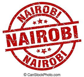Nairobi red round grunge stamp