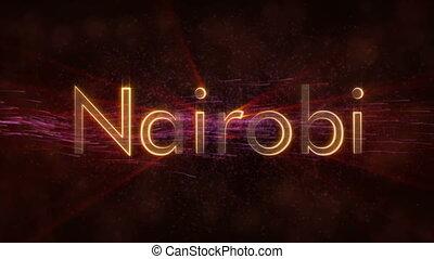 Nairobi - Shiny looping city name in Kenya, text animation -...