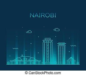 Nairobi skyline Kenya vector city linear style - Nairobi...