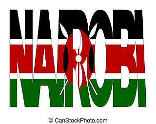 Nairobi text with flag - overlapping Nairobi text with...